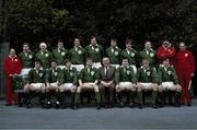 "20 February 1982; Ireland rugby team. Back row, left to right, Fergus Slattery, Gerry ""Ginger"" McLoughlin, John O'Driscoll, Donal Lenihan, Moss Keane, Willie Duggan, Hugo MacNeill, and Phil Orr. Bottom, l to r, Michael Kiernan, Paul Dean, Ollie Campbell, Ciaran Fitzgerald, John Moore, Moss Finn, Robbie McGrath, and Keith Crossan. Ireland v Scotland. Lansdowne Road. Ireland 21 Scotland 12. Picture credit: SPORTSFILE"