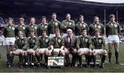 "20 March 1982; Ireland Rugby team. Back row, left to right, Fergus Slattery, Trevor Ringland, Gerry ""Ginger"" McLoughlin, John O'Driscoll, Donal Lenihan, Moss Keane, Ronan Kearney, Phil Orr, and Hugo MacNeill. Bottom, l to r, Robbie McGrath, Paul Dean, Michael Kiernan, Ciaran Fitzgerald, John Moore, Moss Finn, and Ollie Campbell. Ireland v France. Parc des Princes. Ireland 9 France 22. Picture credit: SPORTSFILE"