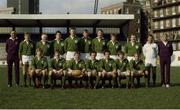 "5 March 1983; The Ireland Rugby team that won a share of The 1983 Five Nations Championship. Back row, left to right, Fergus Slattery, Gerry ""Gingery"" McLoughlin, John O'Driscoll, Donal Lenihan, Moss Keane, Willie Duggan, Hugo MacNeill, and Phil Orr. Bottom, l to r, Trevor Ringland, David Irwin, Ciaran Fitzgerald, Moss Finn, Michael Kiernan, Ollie Campbell, and Robbie McGrath. Ireland v Wales. Cardiff Arms Park. Ireland 9 Wales 23. Picture credit: SPORTSFILE"