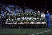 "15 January 1983; The Ireland Rugby team that won a share of The 1983 Five Nations Championship with France. Back row, left to right, Fergus Slattery, Phil Orr, John O'Driscoll, Donal Lenihan, Moss Keane, Willie Duggan, Hugo MacNeill and Gerry ""Ginger"" McLaughlin. Bottom, l to r, Trevor Ringland, David Irwin, Michael Kiernan, Ciaran Fitzgerald, Moss Finn, Ollie Campbell and Robbie McGrath. Ireland rugby team. Ireland v Scotland. Murrayfield. Ireland 15 Scotland 13. Picture credit: SPORTSFILE"