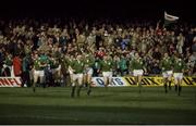 "5 March 1983; From left, Moss Keane, Phil Orr, Trevor Ringland, John O'Driscoll, Michael Kiernan, Ciaran Fitzgerald, Donal Lenihan, Gerry ""Ginger"" McLoughlin, Hugo MacNeill, Fergus Slattery and Ollie Campbell. Ireland Rugby team in action against Wales. Ireland v Wales. Cardiff Arms Park. Ireland 9 Wales 23. Picture credit: SPORTSFILE"