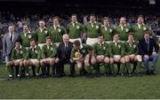 30 March 1985; The Ireland Rugby team that beat England to win the Triple Crown. Top, from left, Mick Cuddy, chairman of the selection committee, Phil Orr, Philip Matthews, Brian Spillane, Donal Lenihan, Willie Anderson, Hugo MacNeill, Nigel Carr and Jim McCoy. Bottom, from left, Michael Bradley, Paul Dean, Trevor Ringland, Michael Carroll, president I.R.F.U., Ciaran Fitzgerald, Michael Kiernan, Keith Crossan, Brendan Mullin and Mick Doyle. Ireland v England. Lansdowne Road. Ireland 13 England 10. Picture credit: SPORTSFILE