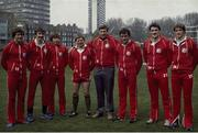 1983; Irish members of  the Lions Rugby, from left, Hugo MacNeill, David Irwin, Ollie Campbell, Ciaran Fitzgerald, coach Bill McBride, Michael Kiernan, John O'Driscoll and Trevor Ringland. Picture credit: SPORTSFILE
