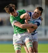 26 February 2015; David Colgan, Blackrock College, is tackled by Colm Kirby O'Briain, Gonzaga College. Bank of Ireland Leinster Schools Junior Cup, Quarter-Final, in association with Beauchamps Solicitors, Blackrock College v Gonzaga College. Donnybrook Stadium, Donnybrook, Dublin. Picture credit: Piaras Ó Mídheach / SPORTSFILE