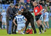 26 February 2015; Liam Turner, Blackrock College, is treated for an injury. Bank of Ireland Leinster Schools Junior Cup, Quarter-Final, in association with Beauchamps Solicitors, Blackrock College v Gonzaga College. Donnybrook Stadium, Donnybrook, Dublin. Picture credit: Piaras Ó Mídheach / SPORTSFILE