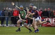 27 February 2015; Paul Killeen, LIT, in action against Jason Forde, centre, and Daire Quinn, UL. Independent.ie Fitzgibbon Cup Semi-Final, University of Limerick v Limerick IT. Limerick IT, Limerick. Picture credit: Diarmuid Greene / SPORTSFILE