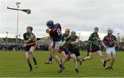 27 February 2015; Jason Forde, UL, is blocked down by David Dempsey, LIT. Independent.ie Fitzgibbon Cup Semi-Final, University of Limerick v Limerick IT. Limerick IT, Limerick. Picture credit: Diarmuid Greene / SPORTSFILE