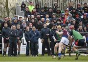 27 February 2015; Members of the LIT bench, including manager Davy Fitzgerald and selector Seoirse Bulfin, look on as UL's Tony Kelly gains possession. Independent.ie Fitzgibbon Cup Semi-Final, University of Limerick v Limerick IT. Limerick IT, Limerick. Picture credit: Diarmuid Greene / SPORTSFILE