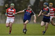 27 February 2015; John O'Dwyer, CIT, in action against Jerome Maher and Tom Fox, right, WIT. Independent.ie Fitzgibbon Cup Semi-Final, Cork IT v Waterford IT. Limerick IT, Limerick. Picture credit: Diarmuid Greene / SPORTSFILE