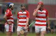 27 February 2015; CIT's Tomas Lawrence, left, Alan Dennehy, centre, and Bill Cooper react after defeat to WIT. Independent.ie Fitzgibbon Cup Semi-Final, Cork IT v Waterford IT. Limerick IT, Limerick. Picture credit: Diarmuid Greene / SPORTSFILE