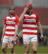 27 February 2015; CIT's Bill Cooper, right, and Alan Dennehy react after defeat to WIT. Independent.ie Fitzgibbon Cup Semi-Final, Cork IT v Waterford IT. Limerick IT, Limerick. Picture credit: Diarmuid Greene / SPORTSFILE