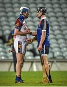 28 February 2015; Intercounty hurling team-mates from Waterford Stephen Bennett, UL, and Pauric Mahoney, WIT, exchange a handshake after the game ended in a draw after extra time.  Independent.ie Fitzgibbon Cup Final, University of Limerick V Waterford Institute of Technology. Gaelic Grounds, Limerick. Picture credit: Diarmuid Greene / SPORTSFILE