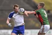 1 March 2015; Kieran Hughes, Monaghan, in action against Kevin Keane, Mayo. Allianz Football League, Division 1, Round 3, Mayo v Monaghan. Elverys MacHale Park, Castlebar, Co. Mayo. Picture credit: David Maher / SPORTSFILE