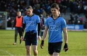 1 March 2015; Dublin's Rory O'Carroll, right, and Nicky Devereux, after defeat to Kerry. Allianz Football League, Division 1, Round 3, Kerry v Dublin. Fitzgerald Stadium, Killarney, Co. Kerry. Picture credit: Diarmuid Greene / SPORTSFILE