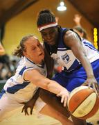 27 January 2008; Jennifer Strong, Glanmire, in action against Michelle Aspell, Waterford Wildcats. Women's Superleague National Cup Final 2008, Glanmire, Cork v Waterford Wildcats, National Basketball Arena, Tallaght, Dublin. Picture credit: Brian Lawless / SPORTSFILE
