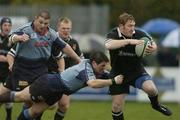 17 April 2004; Shane Stewart of Ballymena in action against Greg Mitchell of Belfast Harlequins during the AIB All-Ireland League Division 1 match between Belfast Harlequins and Ballymena at Deramore Park in Belfast. Photo by Pat Murphy/Sportsfile