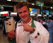 "Shane Healy with his ""Olympics passport"" at Dublin Airport.   Athletics."