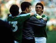 25 June 1990; Tony Cascarino of Republic of Ireland, right, celebrates with team-mates Packie Bonner, centre, and Andy Townsend following of the FIFA World Cup 1990 Round of 16 match between Republic of Ireland and Romania at the Stadio Luigi Ferraris in Genoa, Italy. Photo by Ray McManus/Sportsfile