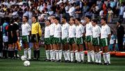 17 June 1990; The Republic of Ireland team from left, captain Mick McCarthy, Packie Bonner, Ray Houghton, Steve Staunton, Andy Townsend, Paul McGrath, Chris Morris, John Aldridge, Tony Cascarino, Kevin Sheedy and Kevin Moran ahead of the FIFA World Cup 1990 Group F match between Republic of Ireland and Egypt at Stadio La Favorita in Palermo, Italy. Photo by Ray McManus/Sportsfile