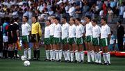 June 1990. The Republic of Ireland team from left, captain Mick McCarthy, packie Bonner, Ray Houghton, Steve Staunton, Andy Townsend, Paul McGrath, Chris Morris, John Aldridge, Tony Cascarino, Kevin Sheedy and Kevin Moran. World Cup 1st round, Rep of Ireland v Egypt, Genoa, Italy. Soccer. Picture credit; Ray McManus/SPORTSFILE