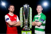 3 March 2015; Ger O'Brien, St. Patrick's Athletic, and Conor Kenna, Shamrock Rovers, both teams will play each other on the opening day of the 2015 SSE Airtricity league season. Aviva Stadium, Lansdowne Road, Dublin. Picture credit: David Maher / SPORTSFILE