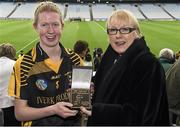 1 March 2015; Kellyann Doyle, of Piltown, Co Kilkenny, receives the Player of the Match award from Maol Muire Tynan, AIB, after the AIB All Ireland Intermediate Club Camogie Final, Piltown v Lismore. Croke Park, Dublin. For exclusive content and to see why the AIB Club Championships are #TheToughest follow us @AIB_GAA and on Facebook at facebook.com/AIBGAA. Croke Park, Dublin. Picture credit: Ray McManus / SPORTSFILE