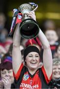 1 March 2015; The Oulart-The Ballagh captain Karen Atkinson lifts the cup. AIB All Ireland Senior Club Camogie Final, Mullagh v Oulart-The Ballagh. Croke Park, Dublin. Picture credit: Ray McManus / SPORTSFILE