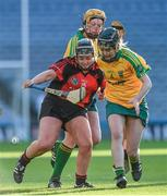 1 March 2015; Aideen Brennan, Oulart-The Ballagh, in action against Ciara Donohue, right, and Sarah Dervan, Mullagh. AIB All Ireland Senior Club Camogie Final, Mullagh v Oulart-The Ballagh. Croke Park, Dublin. Picture credit: Ray McManus / SPORTSFILE