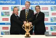 2 March 2015; Pictured at the announcement of the venues which have been selected to host matches at Rugby World Cup 2019 in Japan are Akira Shimazu, CEO Japan Rugby World Cup 2019, left, Bernard Lapasset, Chairman Rugby World Cup Limited, centre, and Tatsuzo Yabe, Chairman of Japan Rugby Union. Westbury Hotel, Dublin. Picture credit: Ramsey Cardy / SPORTSFILE