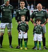 28 February 2015; Ireland Legends Jeremy Staunton, left, and Peter Clohessy, pose with mascots before the game. Ireland legends v England legends.  Donnybrook Stadium, Donnybrook, Dublin. Picture credit: Piaras Ó Mídheach / SPORTSFILE