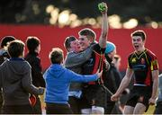 3 March 2015; Conor Fitzgerald, Ard Scoil Rís, celebrates wth supporters after scoring a last-minute penalty to claim victory over PBC. SEAT Munster Schools Senior Cup Semi-Final, Presentation Brothers College v Ard Scoil Rís. Irish Independent Park, Cork. Picture credit: Diarmuid Greene / SPORTSFILE