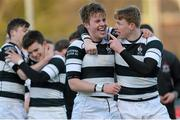 3 March 2015; Conor Jennings and team-mate James McKeown, right, Belvedere College, celebrate their side's victory. Bank of Ireland Leinster Schools Senior Cup Semi-Final, Clongowes Wood College v Belvedere College, Donnybrook Stadium, Donnybrook, Dublin. Picture credit: Cody Glenn / SPORTSFILE