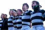 3 March 2015; Belvedere College players, right to left, Conor Jennings, James Kenny, Dan McCaffrey, Senan McNulty and Brian Egan sing their school song after the win. Bank of Ireland Leinster Schools Senior Cup Semi-Final, Clongowes Wood College v Belvedere College, Donnybrook Stadium, Donnybrook, Dublin. Picture credit: Cody Glenn / SPORTSFILE
