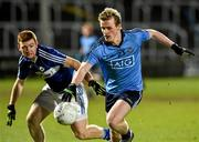 4 March 2015; Stephen Cunningham, Dublin, in action against Liam Knowles, Laois. EirGrid Leinster U21 Football Championship, Quarter-Final, Laois v Dublin, O'Moore Park, Portlaoise, Co. Laois. Picture credit: David Maher / SPORTSFILE