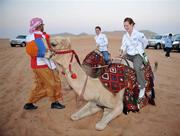 28 January 2008; Brianne Leahy, centre, Kildare, and Caoimhe Marley, Armagh, try out some camel rides during a Safari Trip. O'Neills/TG4 Ladies Gaelic Football All Star Tour 2007, Dubai, United Arab Emirates. Picture credit: Brendan Moran / SPORTSFILE  *** Local Caption ***