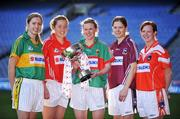 4 February 2008; At the launch of the 2008 Suzuki Ladies' National Football League, were Division One footballers, from left, Linda O'Connor, Kerry, Rena Buckley, Cork, Fiona McHale, Mayo, Gillian Joyce, Galway and Caoimhe Marley, Armagh, with the Division One trophy. Croke Park, Dublin. Picture credit: Brendan Moran / SPORTSFILE  *** Local Caption ***