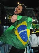 6 February 2008; Viviane Van Der Rmurem, from Brazil, shows her support before the game. International Friendly, Republic of Ireland v Brazil, Croke Park, Dublin. Picture credit; Pat Murphy / SPORTSFILE