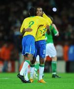 6 February 2008; Robson Souza, right, Brazil, celebrates at the end of the game with team-mate Leonardo Moura. International Friendly, Republic of Ireland v Brazil, Croke Park, Dublin. Picture credit; David Maher / SPORTSFILE