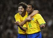 6 February 2008; Brazil's Robson Souza celebrates, with team-mate Diego Ribas after scoring his side's first goal. International Friendly, Republic of Ireland v Brazil, Croke Park, Dublin. Picture credit; Pat Murphy / SPORTSFILE