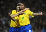 6 February 2008; Brazil's Robson Souza celebrates with team-mate Diego Ribas after scoring his side's first goal. International Friendly, Republic of Ireland v Brazil, Croke Park, Dublin. Picture credit; Pat Murphy / SPORTSFILE *** Local Caption ***
