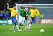 6 February 2008; Lee Carsley, Republic of Ireland, in action against Julio Baptista, right, and Diego Ribas, Brazil. International Friendly, Republic of Ireland v Brazil, Croke Park, Dublin. Picture credit; Brian Lawless / SPORTSFILE
