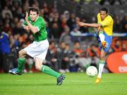 6 February 2008; Robson Souza, Brazil, in action against Kevin Kilbane, Republic of Ireland. International Friendly, Republic of Ireland v Brazil, Croke Park, Dublin. Picture credit; Brian Lawless / SPORTSFILE