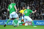 6 February 2008; Robson Souza, Brazil, shoots to score his side's first goal. International Friendly, Republic of Ireland v Brazil, Croke Park, Dublin. Picture credit; Pat Murphy / SPORTSFILE *** Local Caption ***