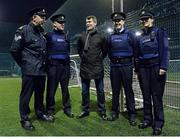 6 March 2015; Roy Keane attends Late Night Leagues finals in Cork City tonight. Late Night Leagues is a youth diversion programme ran in conjunction with the Gardaí, Foroige and the FAI sponsored by IPB to utilise football as a tool for social inclusion. Pictured with Republic of Ireland assistant manager Roy Keane are, from left to right, Sergeant John O'Connor, Garda Micheal O'Connell, Reserve Garda Ross McDonald and Garda Sile Griffin. Sam Allen Pitches, Leisure World, Churchfield, Cork City. Picture credit: Matt Browne / SPORTSFILE