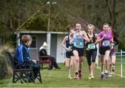 7 March 2015; Caoimhe Harrington, Colaiste Pobail Bheanntrai, left, and Jodie McCann, Rathdown School, lead the opening lap of the Intermediate Girls race during the GloHealth All Ireland Schools Cross Country Championships. Clongowes Wood College, Co. Kildare. Picture credit: Ramsey Cardy / SPORTSFILE
