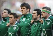 9 February 2008; Ireland players, from left, Denis Leamy, Eoin Reddan, Donncha O'Callaghan, Rob Kearney and Jamie Heaslip stand together for the national anthems before the game. RBS Six Nations Rugby Championship, France v Ireland, Stade De France, Paris, France. Picture credit; Brendan Moran / SPORTSFILE *** Local Caption ***