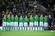 6 February 2008; The Republic of Ireland team stand for a minutes silence before the game. International Friendly, Republic of Ireland v Brazil, Croke Park, Dublin. Picture credit; Pat Murphy / SPORTSFILE *** Local Caption ***
