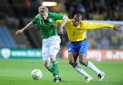 6 February 2008; Damien Duff, Republic of Ireland, in action against Julio Baptista, Brazil. International Friendly, Republic of Ireland v Brazil, Croke Park, Dublin. Picture credit; Pat Murphy / SPORTSFILE *** Local Caption ***