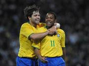 6 February 2008; Robinho, Brazil, celebrates with team-mate Diego Ribas, left, after scoring his side's first goal. International Friendly, Republic of Ireland v Brazil, Croke Park, Dublin. Picture credit; Pat Murphy / SPORTSFILE *** Local Caption ***