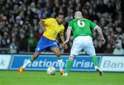 6 February 2008; Robinho, Brazil, in action against Lee Carsley, Republic of Ireland. International Friendly, Republic of Ireland v Brazil, Croke Park, Dublin. Picture credit; Pat Murphy / SPORTSFILE *** Local Caption ***
